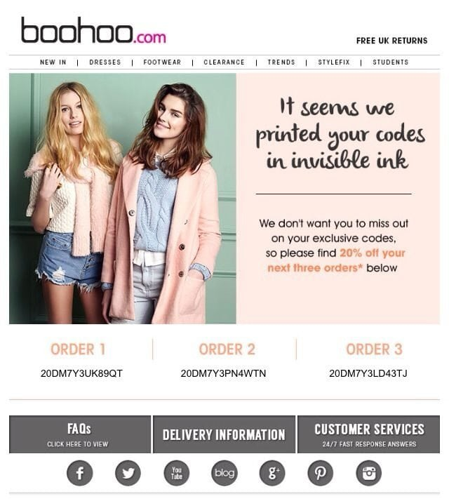 Boohoo's apology email response and offer to their subscribers after the mistake