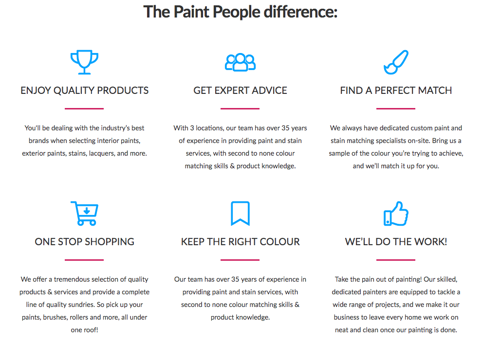 landing page sections - benefits list